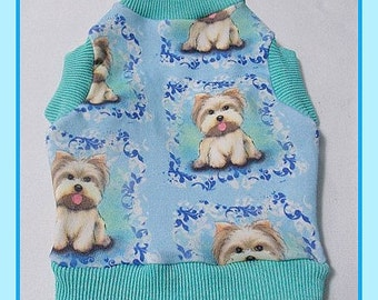 All Done Boy Shirt Spoonflower Fabric  Size Small in Yorkie Tongue Out
