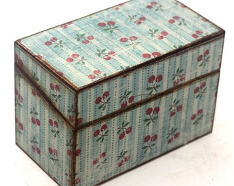 Wood Recipe Box Vintage Inspired Blue and Cream with Cherries Fits 4x6 Recipe Cards