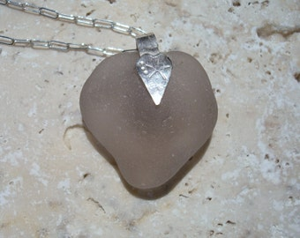 Heart Shaped Sea Glass Pendant Necklace -Lavender Seaglass -Sterling Silver Jewelry