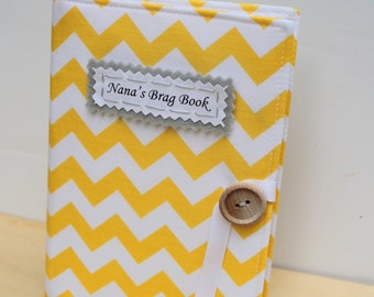 yellow chevron personalized photo album brag book