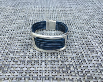 Navy Blue Leather & Silver Cuff