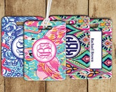 Monogram Lilly Inspired Luggage Tags, Preppy Monogram Luggage Tag,  Heavy duty double-sided bag tag, personalized luggage tag