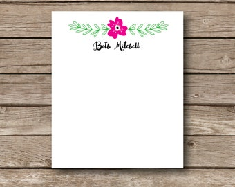 Personalized floral Notepads, desk pads, personalized small notepads, custom notepads, Personalized office supplies, set of 2