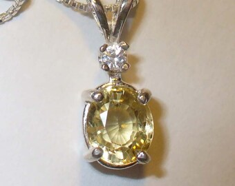 Canary Yellow Tourmaline Pendant Necklace in Sterling Silver