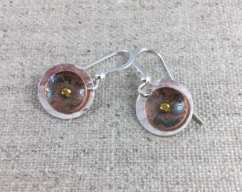 Sterling Silver & Copper Riveted Earrings