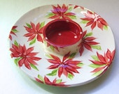 Christmas Poinsettia pottery Serving Plate ceramic bright w/ polka-dots, chip dip server, cheese crackers, antipasti platter