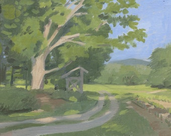Path at Lucy Brook Farm: Original Oil Painting Plein Air Landscape