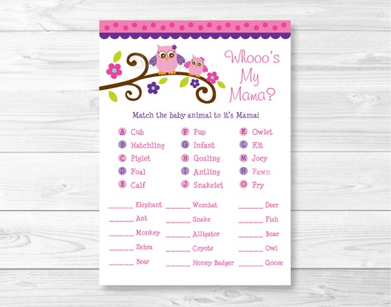 cute owl animal match baby shower game owl baby shower baby animal