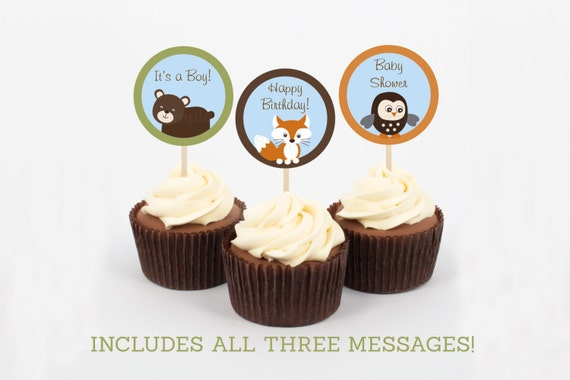 Cute Woodland Animal Cupcake Toppers / Woodland Baby Shower / Forest Animals / Fox / Owl / Bear / Gender Neutral / INSTANT DOWNLOAD