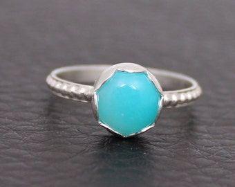 Amazonite Ring, Sterling Silver Ring, Handmade Ring, Scallop Edge Bezel Setting