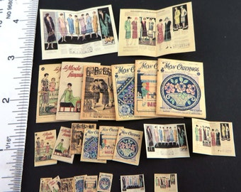 6 French Magazines Covers from the 1920's Project in 3 scales, Dollhouse book 1:12 Digital Download Printable  DH016