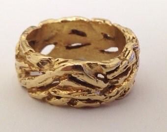 14 KT Gold Size 5.25 Wedding Band Handmade
