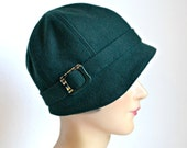 RESERVED - Wool Cloche Hat with Art Deco Buckle - Women's Cloche Hat - 1920s Hat