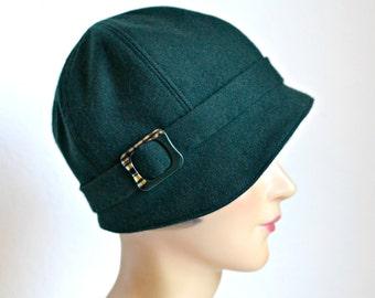 Wool Cloche Hat with Art Deco Buckle - Women's Cloche Hat - 1920s Hat