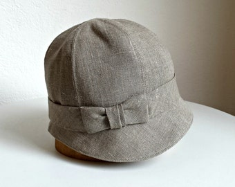 Cloche Hat with Bow in Taupe Linen - 1920s Cloche - Made to Order