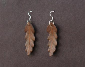 Handcarved Black Walnut and Mahogany Wood Leaf  Earrings J160341