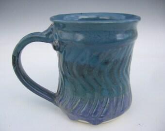 Teal Blue carved mug
