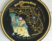 Vintage Disney World Florida Tin Tray - Souvenir - 1960s - Winnie the Pooh Donald Duck Goofy