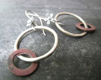 Savannah - Hoop Earrings Reclaimed Copper Sterling Silver Wild Flower Ear Wires Jane Plain Minimalist Urban Gypsy Earrings