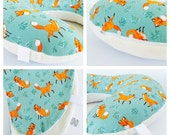 FOREST FRIENDS BOPPY Cover  / Zipper closure  /  Cute Fox cotton  print with soft minky dimples/ Also available in Orange