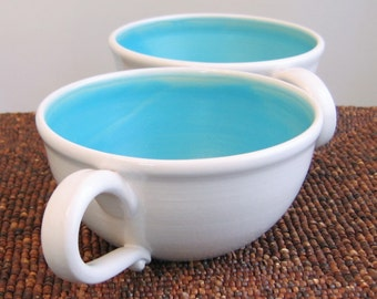 Soup Mugs - Large Stoneware Pottery Coffee or Cappuccino Cups in Turquoise Blue 20 oz Set of 2 Seconds