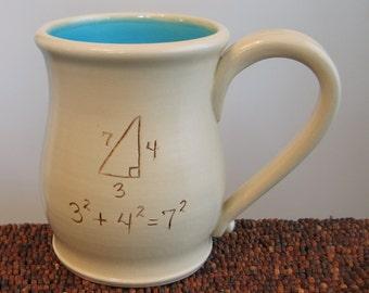 Funny Mug - Incorrect Math Pottery Mug - Large Coffee Mug for Geeks or Teachers in Turquoise Blue Stoneware Ceramic Gag Gift