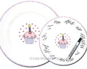 Ready to Ship - Hand Painted Signature Birthday Plate -  Heart Cupcake