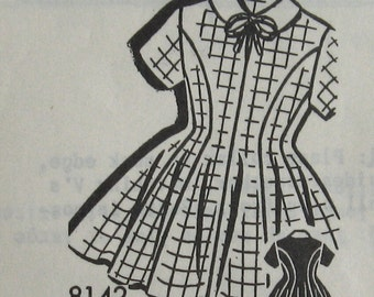 Vintage Sewing Pattern 1950s Girls Dress Pattern Panel Cut Dress With Contrasting Collar Mail Order Pattern  Sz 4 Uncut