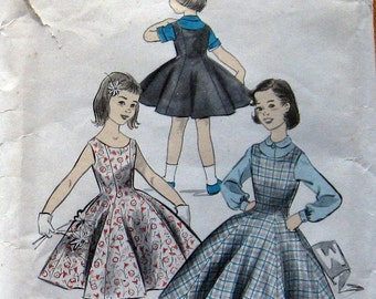 Girls Dress Pattern Princess Styles Sun Dress Or Jumper With Blouse circa 1950s Advance 8102  Sz 6