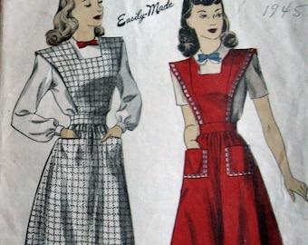 1940 Misses Vintage Dress Pattern Apron Style Dress And Blouse DuBarry 5911 Sz 16 Uncut