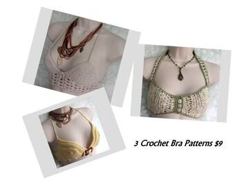 3 Crochet Bra Patterns Women's Summer Bikini Tops Teen Beach Wear Crochet Swim Sun Bra Patterns Instant Download Multi Sized Pattern