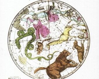 Burritt's Sky Atlas Reprint Solar System Celestial Constellations Astronomy Astrology Northern Circumpolar Map
