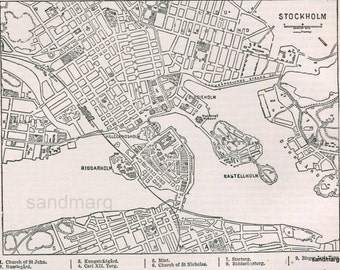 1897 Victorian Antique Map the City of Stockholm Sweden Encyclopedia Page