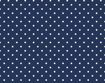 20% OFF White Swiss Dots on Navy - 1/2 Yard