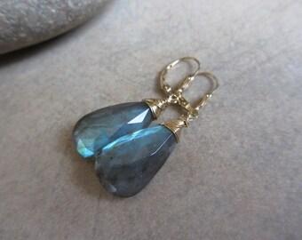 Large Labradorite Earrings, Green, Blue Green, Gold, Wire Wrapped, Dangle, Green Earrings, Gemstone, Irisjewelrydesign