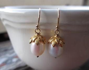 Lotus Pearl Gold Earrings, Bead Cap, White, Drop, Freshwater Pearl, Irisjewelrydesign