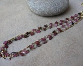 Pink Tourmaline Multi Strand Necklace, Gold, Wire-Wrapped, Rosary Style, Irisjewelrydesign