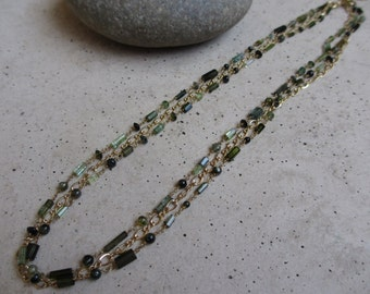 Green Tourmaline Necklace, Gold, Triple Strand, Wire Wrapped, Green Necklace, Everyday Necklace, Irisjewelrydesign
