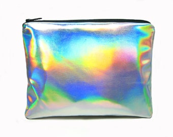 Holographic Cosmetics Purse //Handmade Zipper Pouch