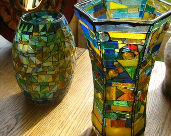 Vase. Mosaic Vase. One of a kind UP CYCLED Vase. Yellow Blue Green Red Vase. Mostly Yellow Vase. Great for Fall Flowers Vase. Vase w Flare.