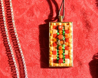 "Jewelry Necklace Pendant Fall Autumn Reds Salmon Green Mosaic Quilt. Two Inch. lead free nickel free square ""frame"". Seed Beads. Tiny Tiles."