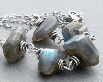 Labradorite Gemstone Necklace, Blue Flash Labradorite, Chunky Faceted Labradorite Necklace, Sterling Silver, Wire Wrapped, #4646