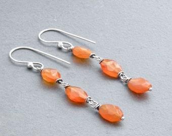 Orange Carnelian Earrings, Oval Orange Gemstones, Sterling Silver Earrings, Boho Orange Stone Earrings, Boho Dangle Earrings, #4703
