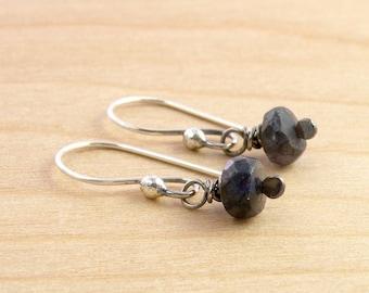 Blue Labradorite Gemstone Earrings, Labradorite Dangles, Sterling Silver, Faceted Labradorite, Wire Wrapped, Dangle Earrings, #4312