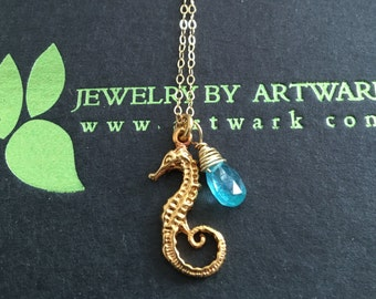 Horsing around a summer necklace 24K gold vermeil whimsical seahorse aquatic grade AA aqua teal blue faceted pear briolette charm necklace