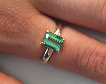 Green tourmaline ring, sterling silver ring with  pale green afghani tourmaline