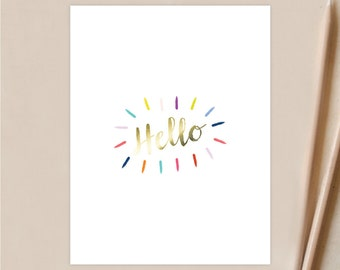 Foil Hello Burst Personal Stationery - Note Cards - Set of 12