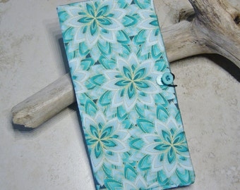 Credit Card Wallet,  Card Organizer Wallet, Loyalty Card Wallet, Credit Card Case, Turquoise Kaliedoscope Fabric, Card Case, Gift for Her