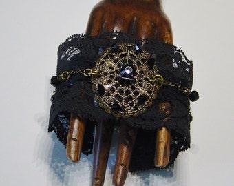 Black Lace Bracelet, Antqiue Brass Lace Bracelet, Gothic,Hipster, Antique Brass Chain Bracelet, Black Crystal Bead Bracelet, Lace Bracelet