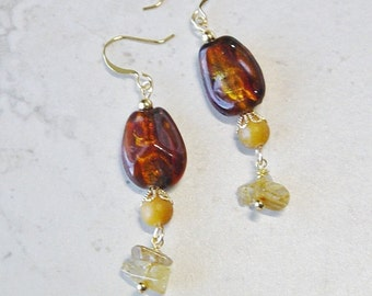 Brown Glass Bead Dangle Earrings,Citrine Bead Earrings, Amber Earrings, Gold Beaded Earrings, Boho